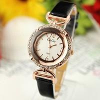 holiday sale new arrival Elegant Crystal Leather Watch Women ladies fashion Wrist dress watch GO021
