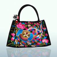 National trend embroidered bag vintage fashion embroidered shoulder bag double faced embroidery messenger bag women's handbag