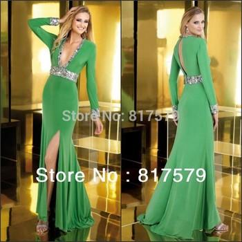 Arabic Green V Neck Beaded Embellished Slit Chiffon Long Sleeve Muslim Evening Dress