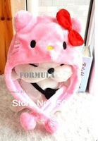 Christmas WINTER hello kitty cap cosplay Beanies Kids Girl Hat KT cat Knitted bow Ear hat  Anime props Plush Fashion animal hat