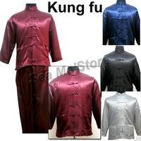 Chinese traditional Style kung fu uniform(shirt/trousers)/Sanshou&Tai chi suit/Silk Satin fabrics /S-XXL/M3010-13