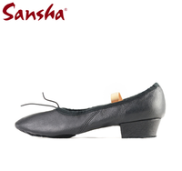 Sansha dance shoes pig leather teachers shoes professional dancers jazz shoes TE2 black/pink free shipping