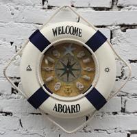 Free shipping Home decoration hangings life buoy clock wall clock -