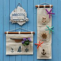 Free shipping Home decoration wall hemp pocket vertical storage bags wall mural bag