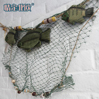Free shipping For dec  oration rope wooden fish fishing net fishing net muons wall decoration wall accessories