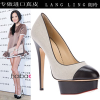Single shoes colorant match unique platform genuine leather high-heeled shoes elegant ladies women's shoes