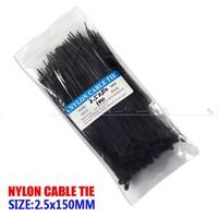 Free shipping, 100pcs Black self-locking nylon cable ties, width 2.5mm * 100mm long