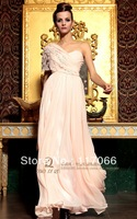 Free shipping Top quality fashion one shoulder cappa 2013 evening dress beading long prom custom made