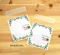 """christmas tree print"" food packing self adhesive plastic bags,Self seal bags,gift packing bag 10cmx15cm Free Shipping Wholesale"