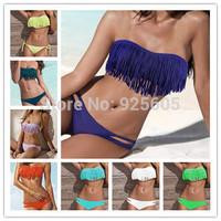2013 free shipping big sale women's swimsuit tassels bathing suit Pendant Bandeau Tops+Bottoms Swimsuit Bikini in stock  7 color