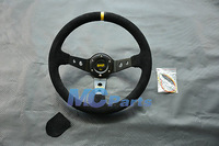 Universal 350mm Corsica Style Race Auto Car Deep Dish Steering Wheel Suede Black