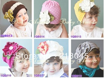 Autumn & Spring Baby Cotton Hat,Flower Set  Autumn Girl Cap,For 0-3years,High Quality Kids Hat,Wholesale 15pc/lot Free Shipping.