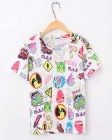 2013 summer zipper harajuku style young girl hiphop skull cat fruit print short-sleeve T-shirt  plus brand fashion shirts