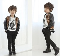 2013 children's clothing male child autumn jacket overcoat child 100% cotton leopard print fashionable casual leather outerwear