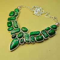High Quatlity Fashion Bohemian Natural Stone Sterling Silver Bijou Chunky Choker Turquoise Necklace Jewelry x3626