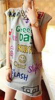 2013 women's sty nda hiphop bf T-shirt loose sleeveless vest harajuku style women's long design t-shirt  plus brand designer