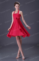 Buy 2013 Cheap Big Red Bow Neck Chiffon Hanging Knee Curling Simple Ballroom Dress Free Shipping HK0103