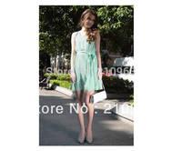 New Arrival Fashion O-Neack Collar  Summer Elegant   ladies Girls  s Green S ,M ,LDress