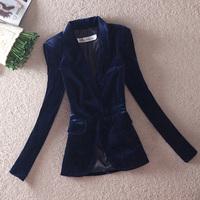 2013 spring gold velvet medium-long blazer outerwear slim suit jacket female