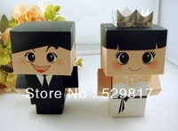 FREE SHIPPING 60pcs 3D full dress Bride and Groom Wedding Favor Boxes gift box candy box