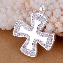 P232 praça pingente de cruz 925 banhado jóias Popular prata colares pingente(China (Mainland))