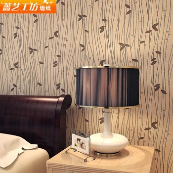 Simple fashion PVC foliage silhouette wallpaper living room bedroom TV backdrop