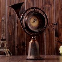 European style Quaint noble horn shape Creative Retro Desk Clock Iron Clock A22-12F0008