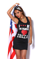 fuck me i'm famous Exclusive red hearts skintight sexy tank Mini Dress
