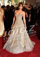 Jennifer Lopez luxury PND tail-on order bead strapless evening dress with gray,Custom!!