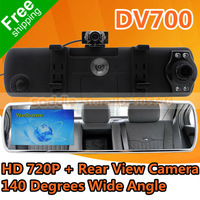 "Car Rear View Mirror DV700 with 4.3"" HD Screen + HD 1280*720P 30FPS + G-Sensor + Rear View Camera + Free Shipping"