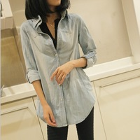 Big sale 2012 women's female top slim denim long-sleeve shirt plus size outerwear
