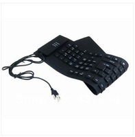 109keys black USB 2.0 Silicone Roll Up Foldable PC Computer Keyboard