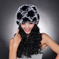 2013 Women's Fashion Natural Knitted Rex Rabbit Fur Hats Female Genuine Winter Warm Caps In Stock