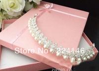 Factory price~Wholesale Nice silver Crown handmade pearl headband .fashion Crown.Wedding jewelry