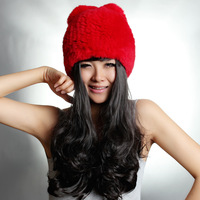 2013 Women's Real Knitted Rex Rabbit Fur Hats Female Winter Warm Handmade Caps Multifunctional Neck Scarf