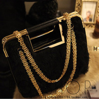 Free Shipping Black rabbit fur cony women's handbag 2013 leather bags chain bag handbag women's handbag  wholesale