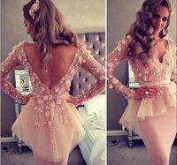 Celebrity Dress Long Sleeve V-neck Myriam Fares FriendTube Sheath Mini length Custome Made Celebrity Dresses