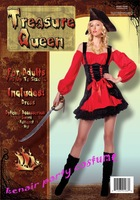 Free shipping 2013 new style treasure queen  party halloween costume woman party dress + fast deliver french maid party costume