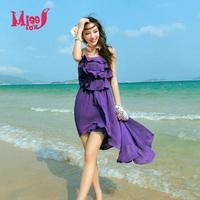 Free Shipping Bohemia Style Spaghetti Strap One-piece Dress Summer Sweet Fresh Beach Dress Short Skirt Wholesales F14495