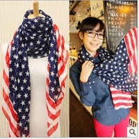 Chiffon american flag scarf color block decoration stars and stripes scarf ultralarge measurement
