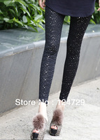 Wholesale Free Shipping Fashion Sequins style patchwork Gothic Leggings Vintage Patchwork Stretch Skinny Pants Trousers