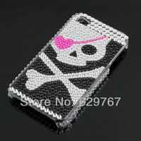 Wholesale Rhinestone Pirate Bling HARD BACK CASE Cover for Apple iPhone 4G 4S New Drop ship