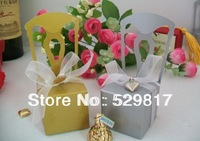 100pc Gold yellow Wedding candy boxes of Miniature Chair Favor Box with Heart Charm and Ribbon