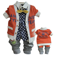Free Shipping  2013 New Arrival (Fashion Suit+Dot Shirt+Sport Pants) Boy's 3 pieces Casual suits Baby US style clothes set