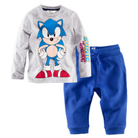 Children Long Sleeve Pyjamas Set Baby Girl's Sleepwear Clothing Baby T-shirt+pants 2pcs/set # blue  free shipping