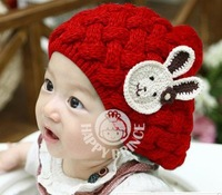 Flowers Korean version of a small rabbit wool cap beret knitted hat winter hat twist wholesale children