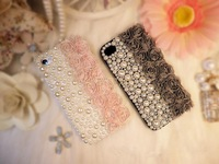 For Apple iPhone 5,5G, Special 3D Rose Flower Sweet Hard Mobile Phone Case, QUALITY PC + Clothes + Pearl,5 Styles Z901