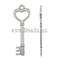Free shipping!!!Zinc Alloy Key Pendants,Guaranteed 100%, platinum color plated, nickel, lead & cadmium free, 17x51.50x2.50mm