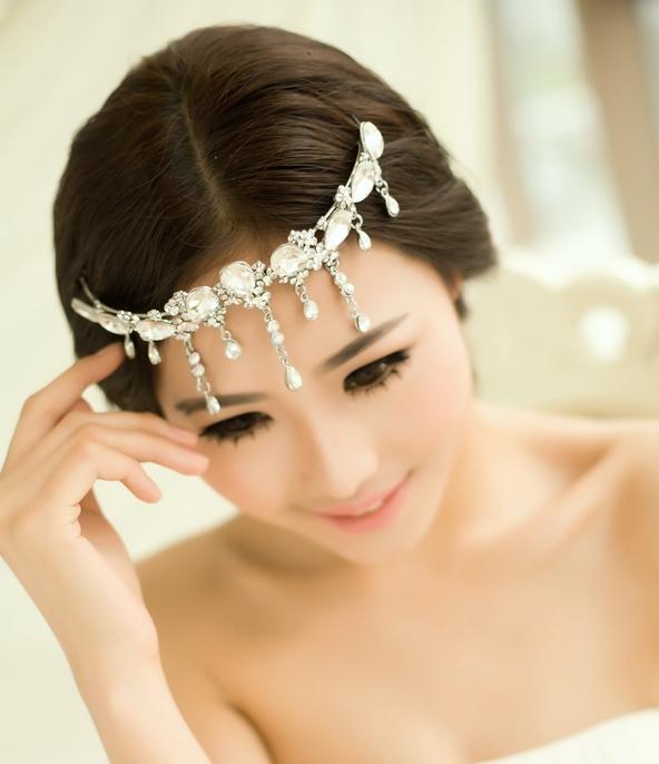 New crystal pearl bridal hair jewelry rhinestone headband wedding hair