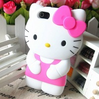 For iPhone 5 5s Case Cute and Lovely Hello Kitty  Silicon Back Cover 20pcs Free Shipping